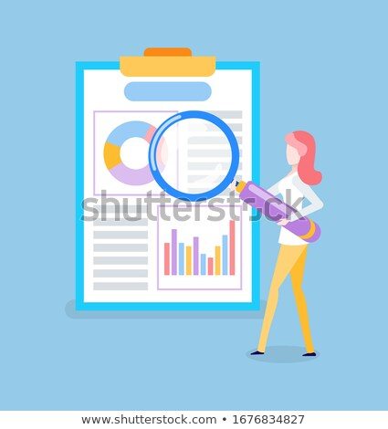 Woman Researching Charts on Paper, Loupe Vector Stock photo © robuart