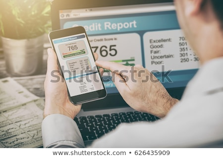 Online kredit pontszám rangsor mobiltelefon pénz Stock fotó © AndreyPopov