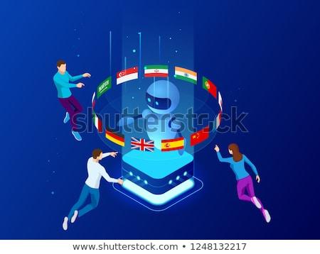 переводчик английский испанский искусственный интеллект 3d иллюстрации стороны Сток-фото © limbi007