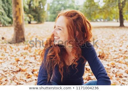 Menina outono floresta mulher sessão Foto stock © pekour