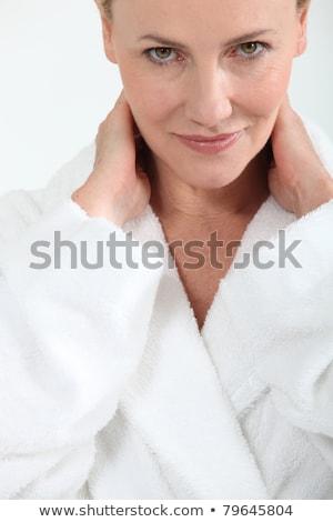 Nő fürdőkád köntös mosolyog kezek mögött Stock fotó © photography33