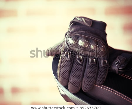 Leder motorfiets handschoenen koolstofvezel bescherming race Stockfoto © ozaiachin