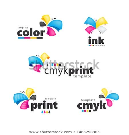 Logo abstract sjabloon print fabriek internet Stockfoto © oxygen64