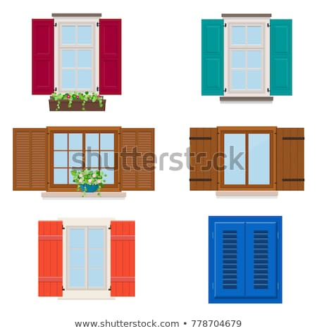 ayarlamak · dış · ahşap · pencereler · tuğla · kareler - stok fotoğraf © matt_post