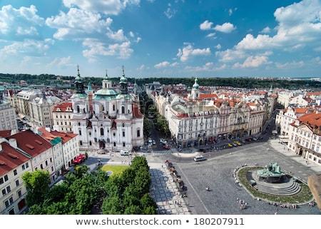 Prága · óváros · tér · turista · tömeg · Csehország - stock fotó © phbcz