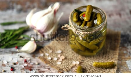 Marinado encurtidos pepinos coliflor servido plato Foto stock © taviphoto