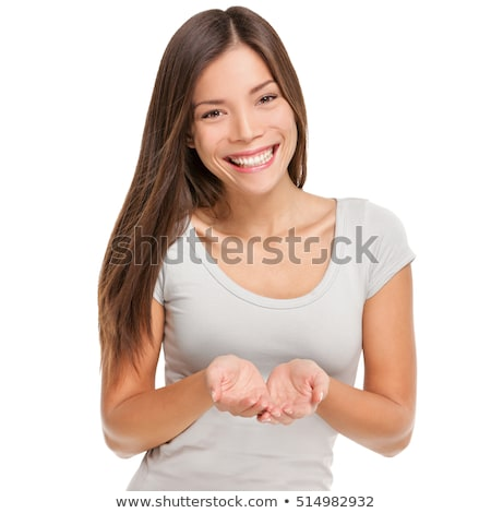 smiling businesswoman showing something on her hand Stock photo © Nobilior