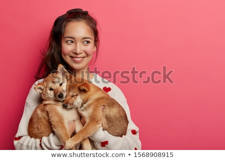 femme · chiot · portrait · rire · golden · retriever - photo stock © saphira