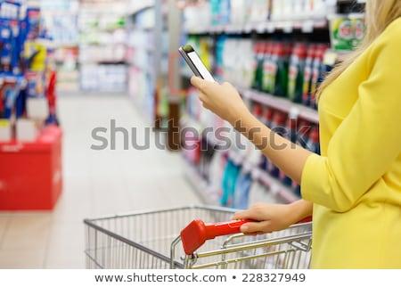ショッピング · 携帯 · アプリ · 女性 · 食料品 · スーパーマーケット - ストックフォト © hasloo