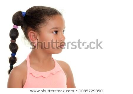 kislány · oldal · fonatok · izolált · fehér · nő - stock fotó © Nejron