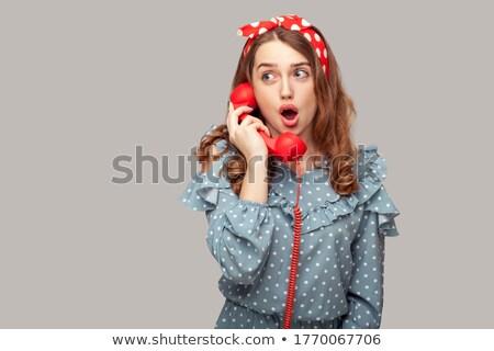 Retro girl with big eyes talking on the phone Stock photo © Zebra-Finch