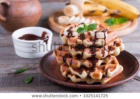 waffle · csokoládé · eper · mártás · szeletek · fehér - stock fotó © aladin66