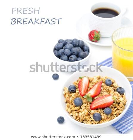 朝食用シリアル ブラックコーヒー 木板 朝食 皿 ダイエット ストックフォト © raphotos