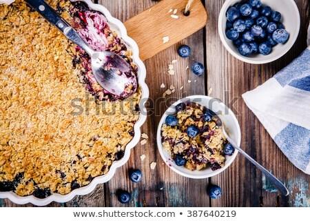 homemade blueberry crumble on  wooden table Stock photo © zoryanchik