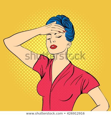 pop art retro woman in comics style with migraine Stock photo © balasoiu