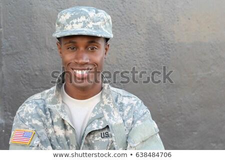 askeri · adam · portre · genç · yalıtılmış - stok fotoğraf © petrmalyshev