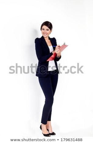 Iroda mappák fekete piros izolált fehér Stock fotó © tetkoren