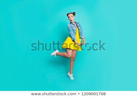 vásárlás · jókedv · lezser · fiatal · lány · hordoz · bevásárlószatyor - stock fotó © fuzzbones0