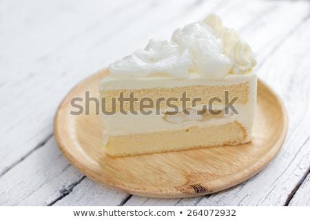 Coconut sponge cake with whipped cream Stock photo © nalinratphi