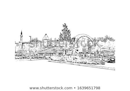 Stock fotó: Város · vektor · terv · háttér · utazás · torony