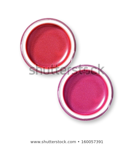 red lip gloss in jar with makeup brush stock photo © elisanth