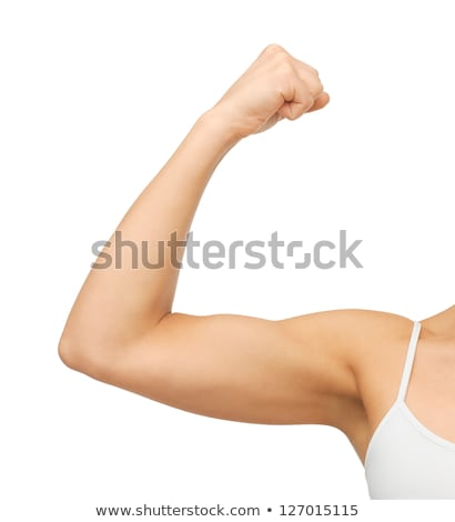 Vrouw biceps foto meisje Stockfoto © dolgachov