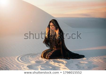 美しい モデル 長い 黒 ベール ブロンド ストックフォト © jrstock