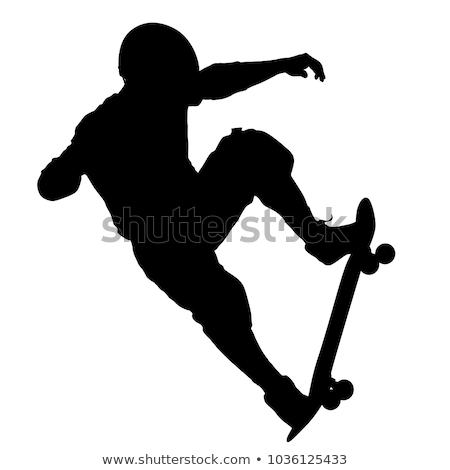 Illustration of black silhouette skateboard man Stock photo © smeagorl