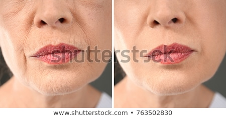 visage · maquillage · comparaison · portrait · femme · heureux - photo stock © svetography