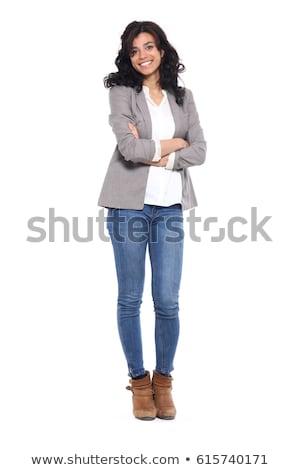 幸せ 女性 立って 腕 折られた 黄色 ストックフォト © deandrobot