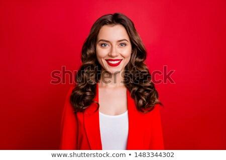 女性 着用 赤 ブレザー 実例 白 ストックフォト © bluering