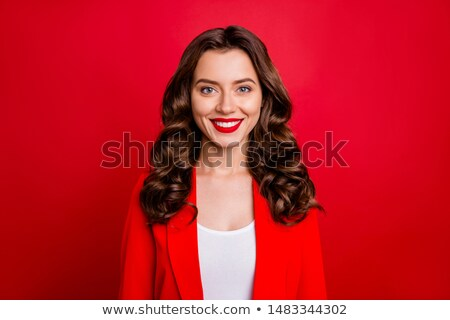 Dame rouge blazer illustration blanche Photo stock © bluering