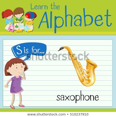 List saksofon ilustracja dzieci dziecko tle Zdjęcia stock © bluering