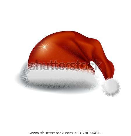 Kırmızı kürk noel baba yalıtılmış beyaz vektör Stok fotoğraf © orensila