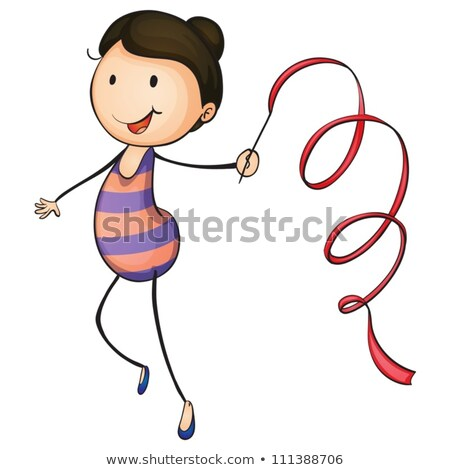 young woman exercising gymastics with ribbon stock photo © rob_stark