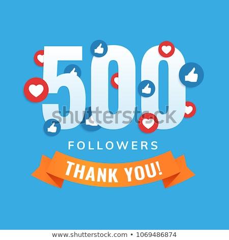 500 tebrik sosyal medya ağ şablon arka plan Stok fotoğraf © SArts