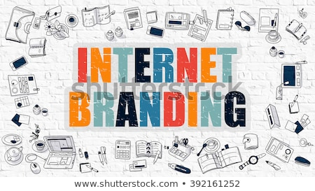 internet branding concept multicolor on white brickwall stock photo © tashatuvango