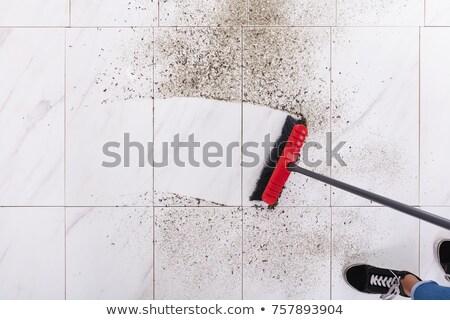 Bezem schoonmaken vuil betegelde vloer Stockfoto © AndreyPopov