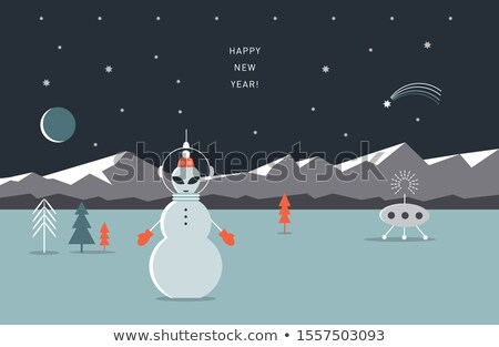 Ufo Noel karakter yabancı tatil hediye Stok fotoğraf © Lightsource