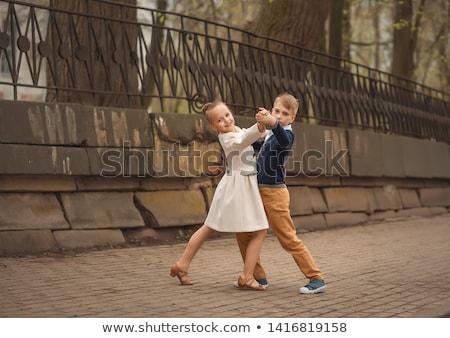 meisje · dressing · omhoog · home · gelukkig · meisje · grappig - stockfoto © is2