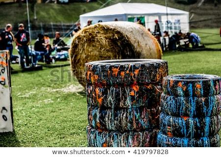Paintball speler fiche grunge gras sport Stockfoto © grafvision