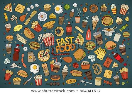 Pizza, hamburger and fries. Fast food concept. design graphic. Stock photo © alexmillos
