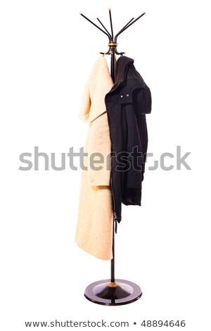 suspendu · manteau · rack · isolé · noir · vert - photo stock © lightfieldstudios