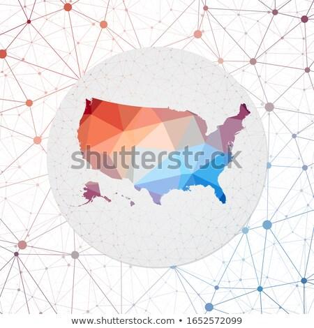 USA map in blockchain technology network style. Stock photo © RAStudio
