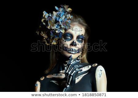 fantázia · különc · nő · fehér · festett · bőr - stock fotó © hsfelix