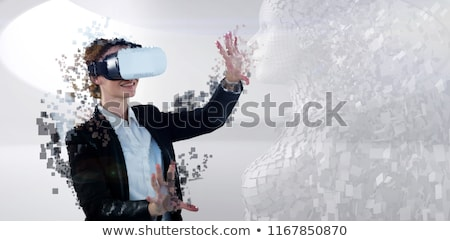 Side view of digitally generated gray pixelated 3d woman Stock photo © wavebreak_media