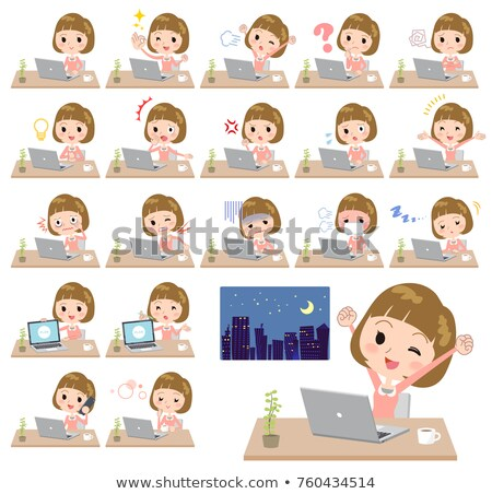 Straight bangs hair pink blouse women_desk work Stock photo © toyotoyo