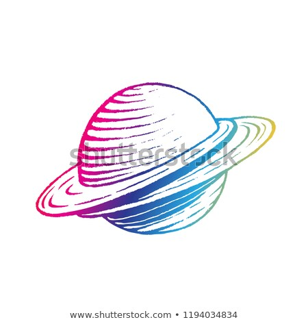 rainbow colored vectorized ink sketch of planet illustration stock photo © cidepix