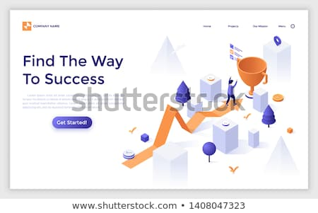 Way to success - modern isometric vector banner Stock photo © Decorwithme