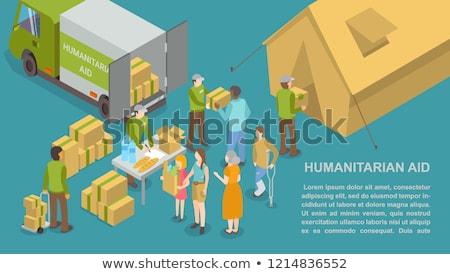 Réfugiés affiche texte échantillon personnes Photo stock © robuart